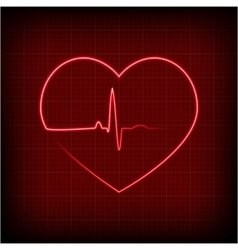Heart on a cardiogram vector