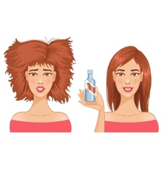 Young woman with hair-dress before and after care vector