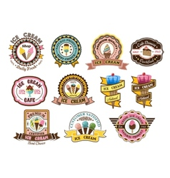 Colorful ice cream emblems or badges vector