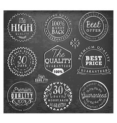 Premium quality badges and labels on chalkboard vector