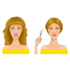 Young woman with hair-dress before and after vector