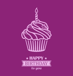 Birthday cupcake background with text badge vector