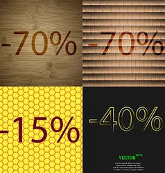 70 15 40 icon set of percent discount on abstract vector