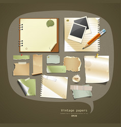 Vintage paper collections design vector