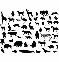 Animal silhouettes set vector