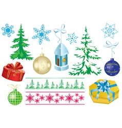 Set of christmas decorations vector
