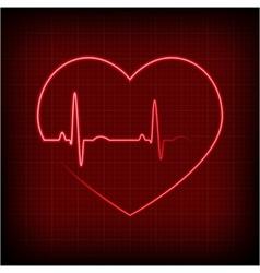 Heart on a cardiogram vector