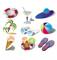 Summer beach travel clip art vector