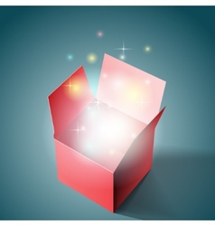Open gift box with light vector