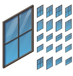 Windows in isometric view vector
