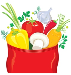 Vegetables fly out of the package seasonings vector
