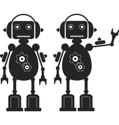 Two black friendly robots with gears headphones vector