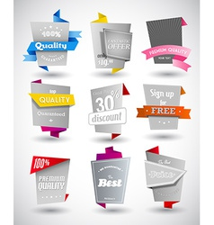 Set of grey paper labels with colored parts vector