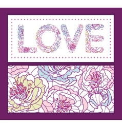 Colorful line art flowers love text frame pattern vector