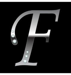 Silver metallic letter f vector