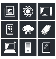 Exchange of information technology icons set vector