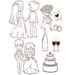 A plain sketch of a wedding ceremony vector