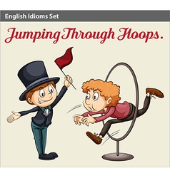 A man jumping through the hoops vector