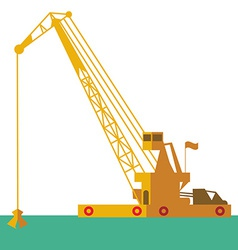 Huge crane barge industrial ship that digs sand vector