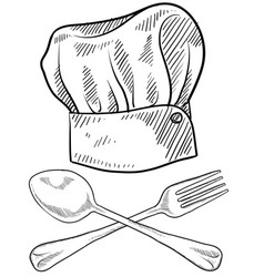 Doodle chef hat fork spoon vector
