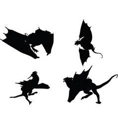 Dragon silhouette in hunting run vector