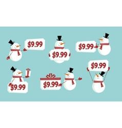 Snow man price tag vector