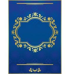 Blue elegant card with golden frame vector