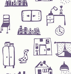 Furniture set seamless pattern vector