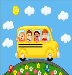 School bus with happy children cartoon vector