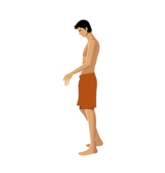 Side view of man wearing towel vector