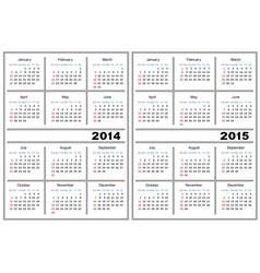 Calendar template 2014 2015 vector
