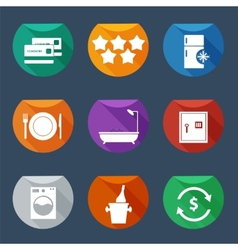 Hotel services icons flat iu set 2 vector