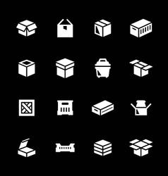 Set icons of box vector