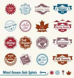Mixed season sale labels vector