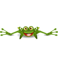 Funny frog is on his stomach vector