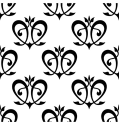 Black floral hearts seamless pattern vector