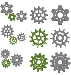 Set of gears with six different gears vector