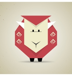 Cute origami geometric sheep from folded paper vector