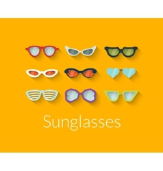 Flat set of sunglasses vector