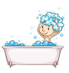 A young boy taking a bath vector