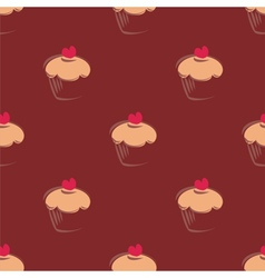 Tile cupcake pattern or seamless cake background vector