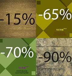 65 70 90 icon set of percent discount on abstract vector