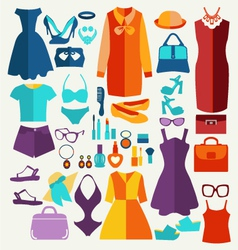 Women summer clothing in flat style vector