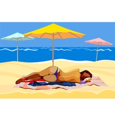 Woman lying on the beach with umbrellas vector