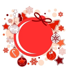 Round christmas label with balls and stars vector