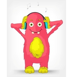 Funny monster listening to music vector