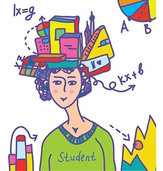 Student with books data infographics vector
