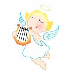 Angel with harp vector