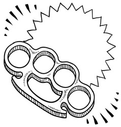 Doodle weapons brass knuckles vector