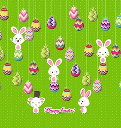 Easter eggs and bunny funny hanging on the wire vector